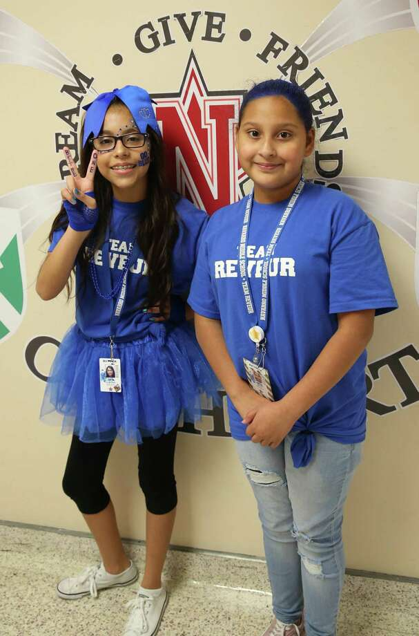 Giselle Hernandez, left, and Alyssa Perez have grown during their time in the Kindness Academy at Navarro Middle School in Lamar Consolidated Independent School District. Photo: Harris County Department Of Education