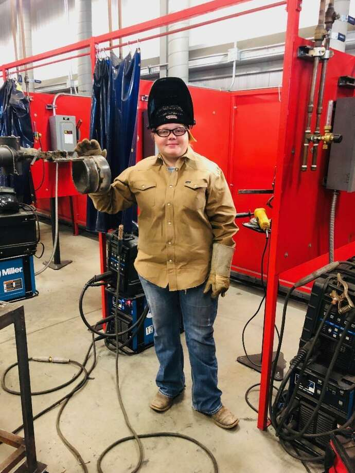 Cheyenne Kuta graduated with a certificate and associate degree in Welding Technology on Monday, Dec. 10, during Texas State Technical College's Commencement Ceremony at the Stafford Centre. Photo: Texas State Technical College