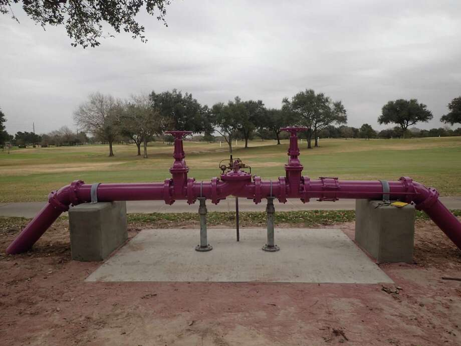 Purple pipelines identify reused water systems. The above pipes belong to the Cinco Ranch reuse system. This system was funded by Cinco Municipal Utility Districts and is within the boundaries of the North Fort Bend Water Authority. Photo: Courtesy North Fort Bend Water Authority / Courtesy North Fort Bend Water Authority