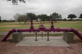 Purple pipelines identify reused water systems. The above pipes belong to the Cinco Ranch reuse system. This system was funded by Cinco Municipal Utility Districts and is within the boundaries of the North Fort Bend Water Authority.