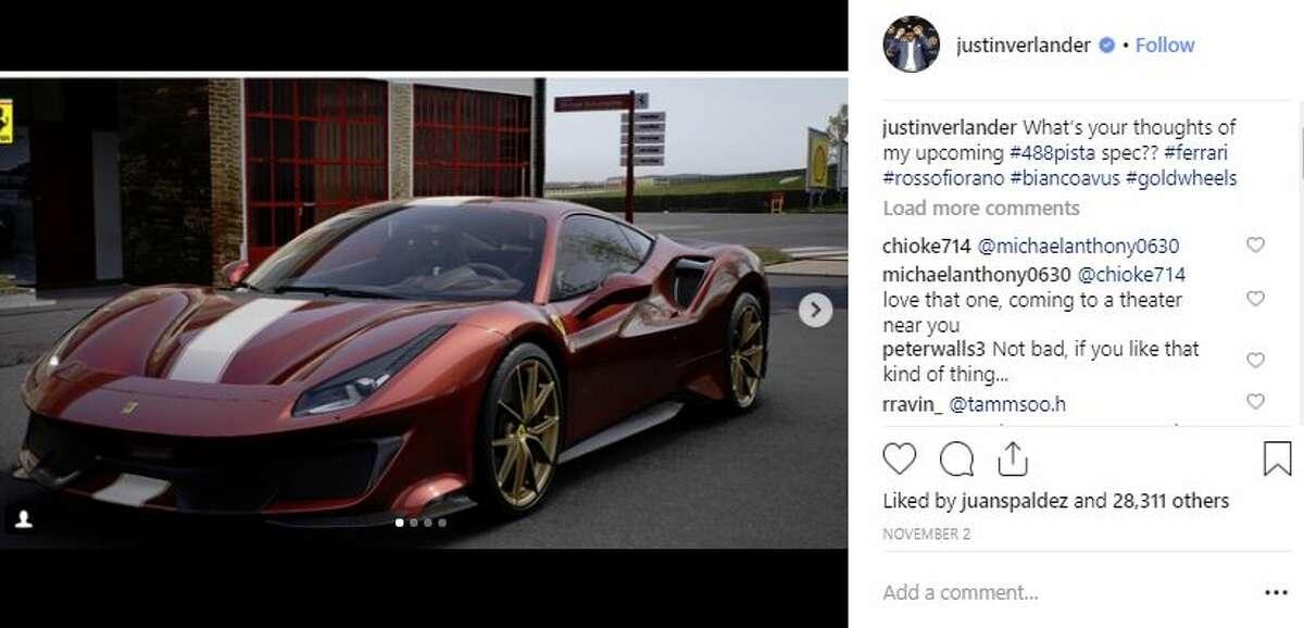 Who:Justin Verlander, Houston Astros pitcherCar: Ferrari 488 Pista