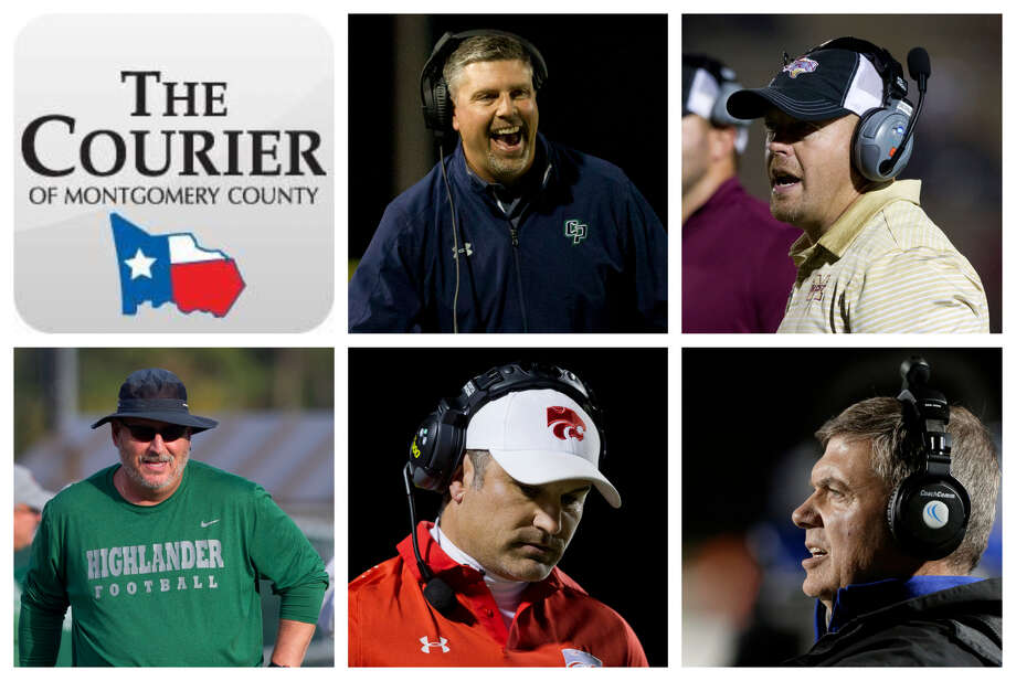 Lonnie Madison (College Park), J.D. Berna (Magnolia West), Jim Rapp (The Woodlands), Marcus Schulz (Splendora) and Brady Pennington (New Caney) are The Courier's nominees for Coach of the Year. Photo: Staff Photos