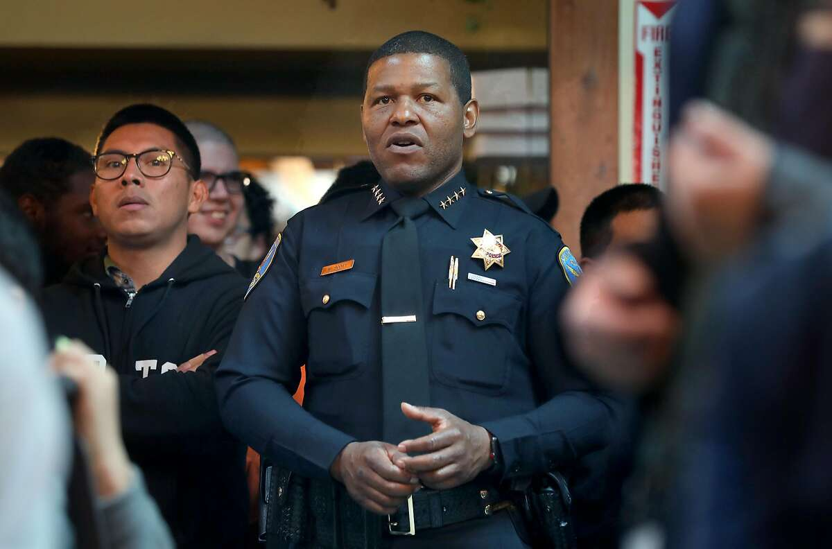 San Francisco Police Chief William �Bill� Scott sings at the holiday singalong concert at Arc on Monday, Dec. 17, 2018, in San Francisco, Calif.