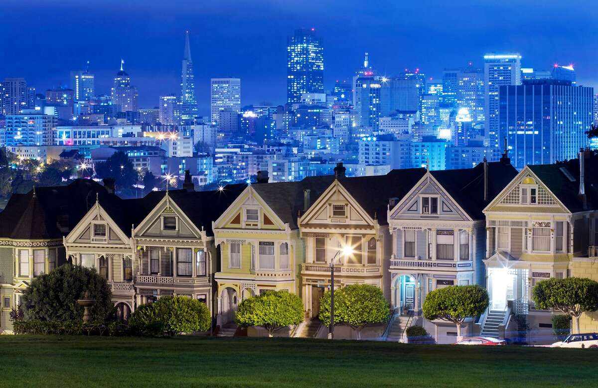 """The """"Painted Ladies"""" victorian houses at Alamo Square Park in San Francisco, Calif., on Wednesday, September 17, 2014. This set of houses was made famous by the TV show """"Full House""""."""