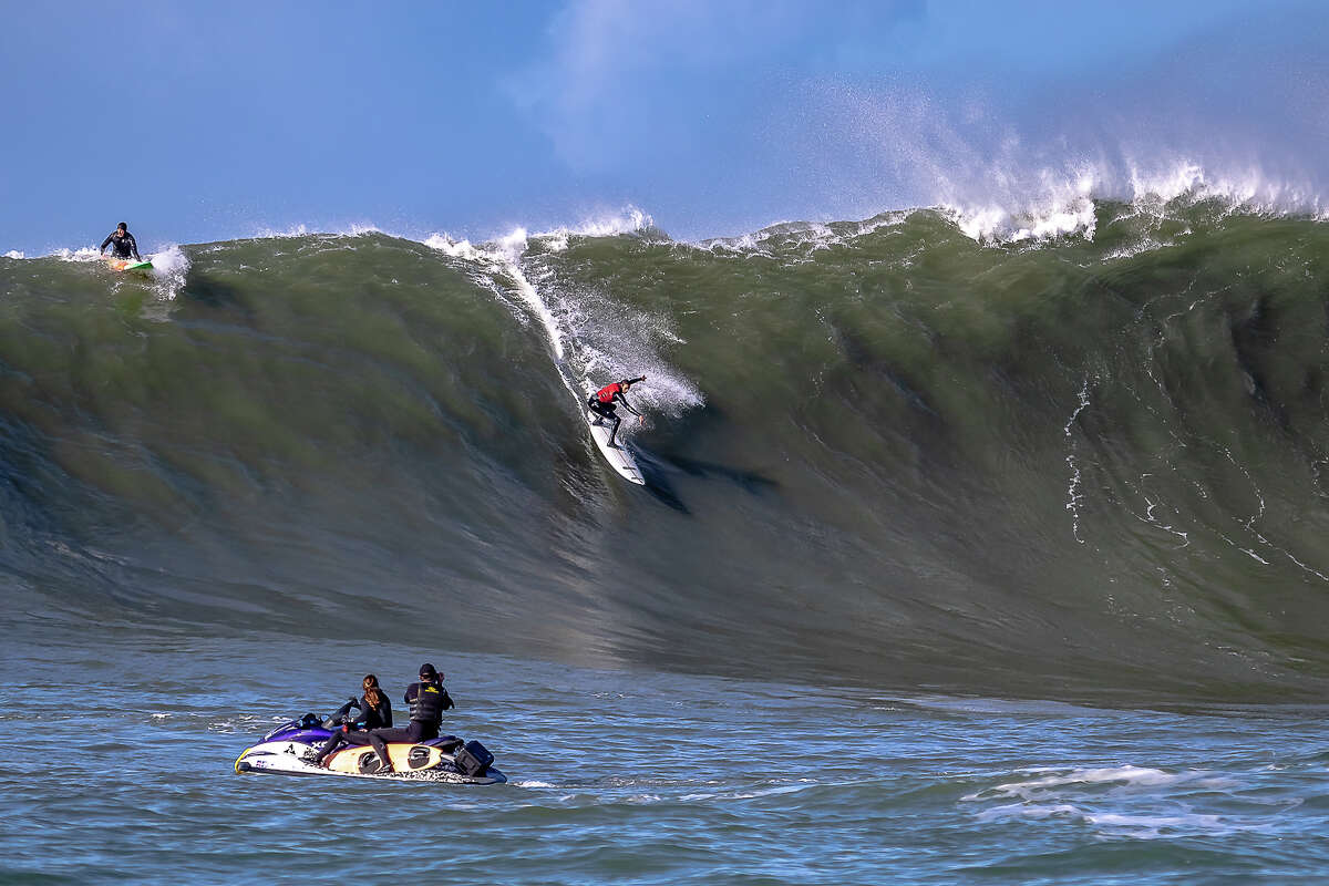 Surfers braved big waves at Mavericks Beach off Half Moon Bay on Dec. 17, 2018. The World Surfing League was eyeing the date last week for the annual surf contest, but decided conditions were too wild and dangerous.