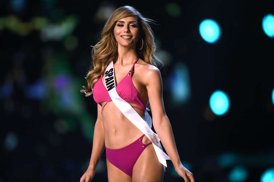 Angela Ponce of Spain competes in the swimsuit competition during the 2018 Miss Universe pageant in Bangkok on December 13, 2018. Photo: LILLIAN SUWANRUMPHA/AFP/Getty Images