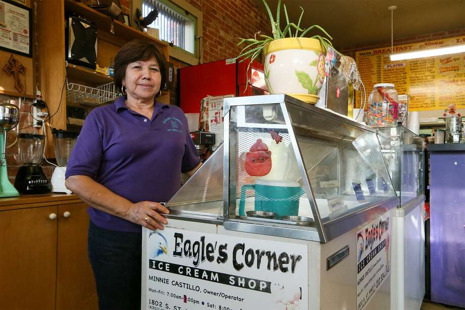 Minnie Castillo inside her Eagle's Corner Ice Cream Shop, 1802 S. St. Mary's St., last month. Castillo has been serving kids from Brackenridge High School across the street for the past 10 years and will be closing the shop in January. Photo: Marvin Pfeiffer /Staff Photographer / Express-News 2018