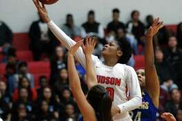 Judson's Kierra Sanderlin glides toward the basket for two more of her game-high 27 points Friday, as Judson dominated Clemens, 85-41, at home in District 26-6A action.