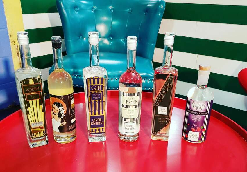 Capital Distillery's products on display in Albany, N.Y.