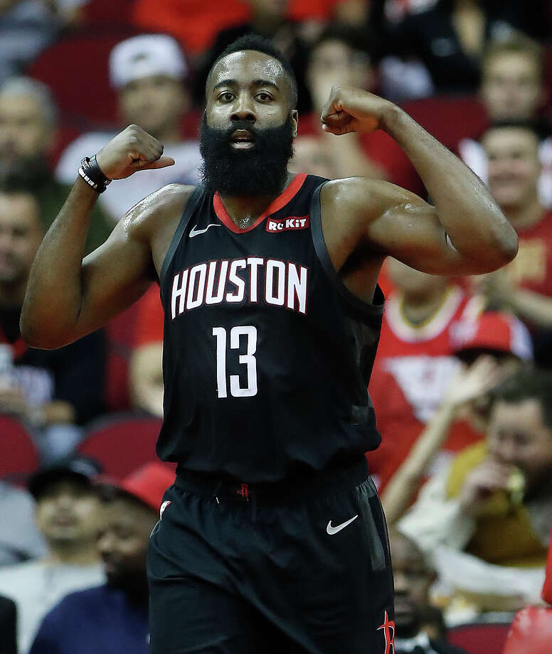 685351706af5 Houston Rockets guard James Harden (13) reacts after scoring during the  first half of