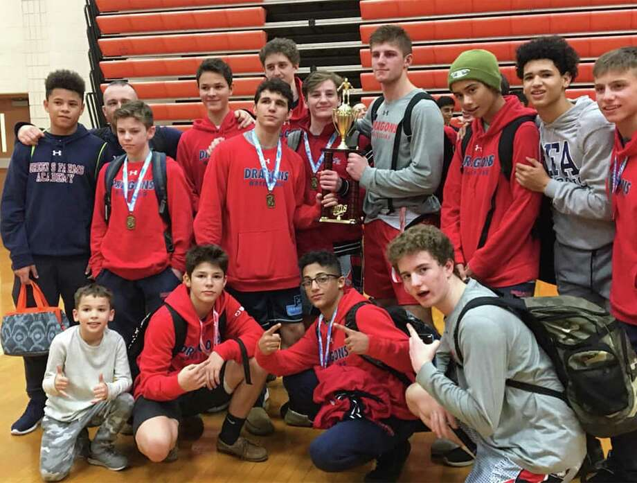 The Greens Farms Academy wrestling team won its second straight Shelton Invitational wrestling tournament on Saturday at Shelton High School. Photo: Greens Farms Academy Athletics / Contributed Photo / Contributed Photo / Greenwich Time Contributed