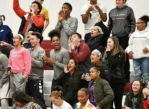 Lansingburgh fans cheer during a basketball game against Mohonasen on Monday, Dec. 17, 2018 in Troy, N.Y. (Lori Van Buren/Times Union)