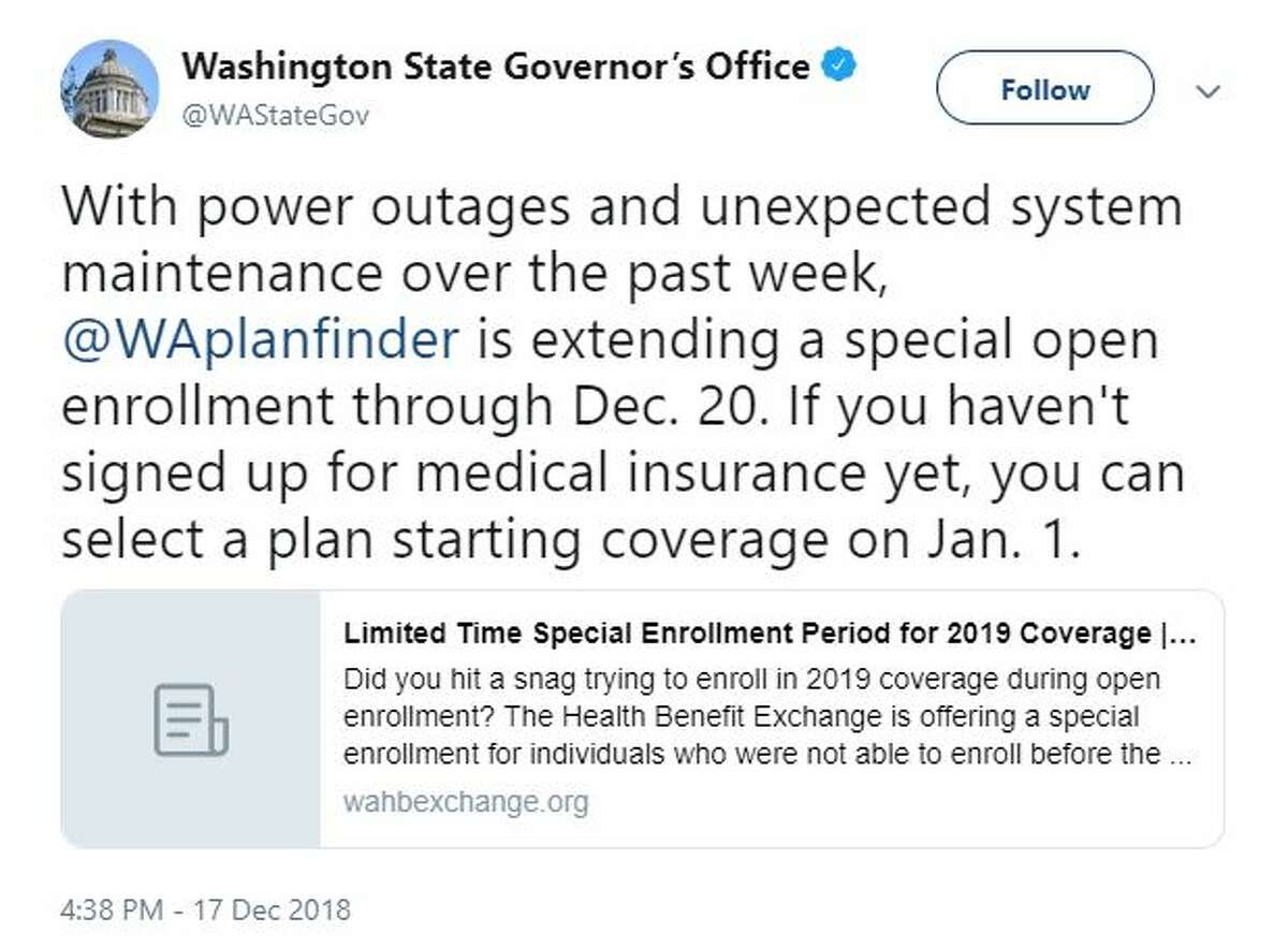 Gov. Jay Inslee's office specified on Twitter that unscheduled maintenance and last week's power outages were some of the reasons for the enrollment extension.