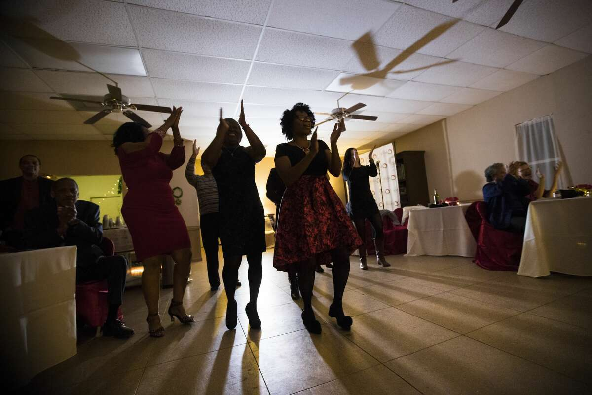 Tamina residents and activists gathered to celebrate the holidays and raise funds for children's literacy at the Jingle all the Way to Literacy party, Saturday, Dec. 8, 2018, in Tamina.