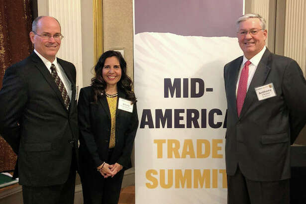 Photo: (L-R) CEO of Smart Controls LLC David Kniepkamp, ITC at SIUE Director Silvia Torres Bowman and Sev-Rend Vice President of Sales and Marketing Tony O'Driscoll.