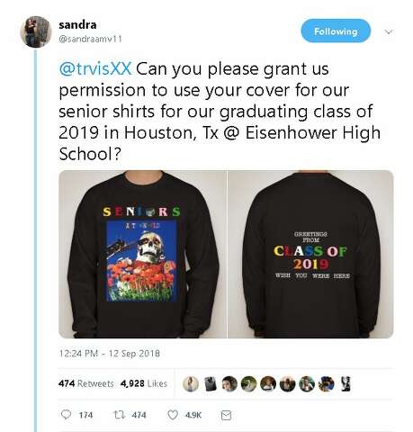 34ad93cbf As promised: Travis Scott delivers custom T-shirts to Houston high ...