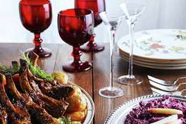 The author's Danish-inspired savory Christmas Day menu: Crown Roast of Pork, Caramelized Potatoes, Pickled Beets, Danish Red Cabbage and lefse.