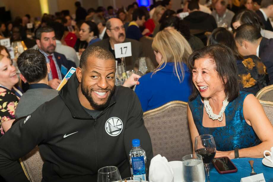 Andre Iguodala and Melinda Yee Franklin attend Warriors Holiday Hoops Luncheon on December 11th 2018 at Fairmont Hotel SF in San Francisco. Photo: Susana Bates For Drew Altizer Photography