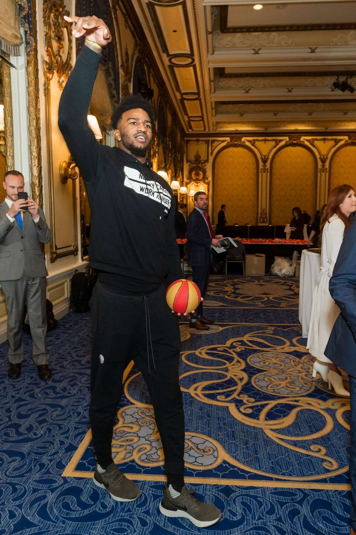 Jordan Bell attends Warriors Holiday Hoops Luncheon on December 11th 2018 at Fairmont Hotel  in San Francisco.