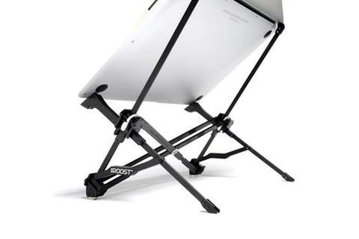The portable Roost stand from www.therooststand.com raises a laptop to eye level.