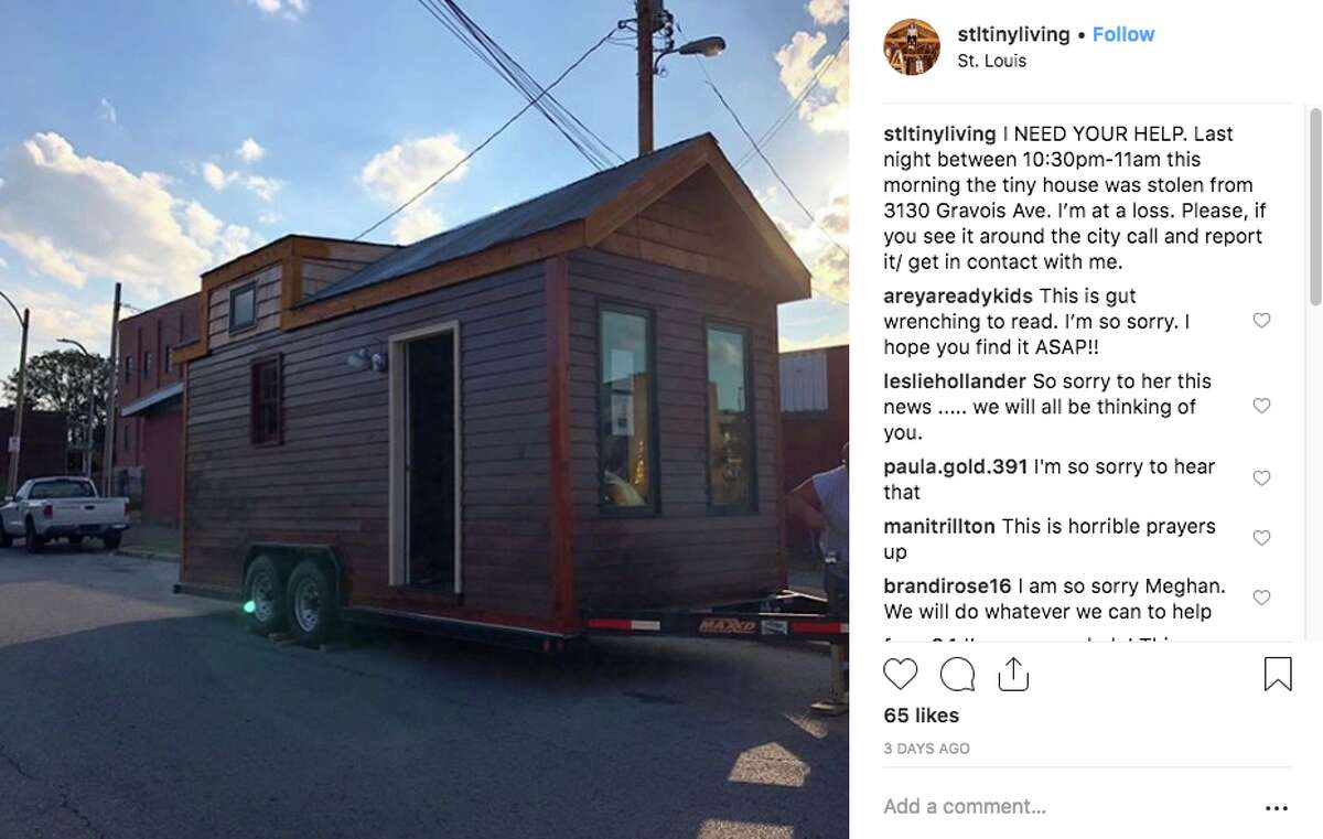 Meghan Panu said her tiny home was stolen from St. Louis on Sunday and is headed on Interstate 40 toward California.