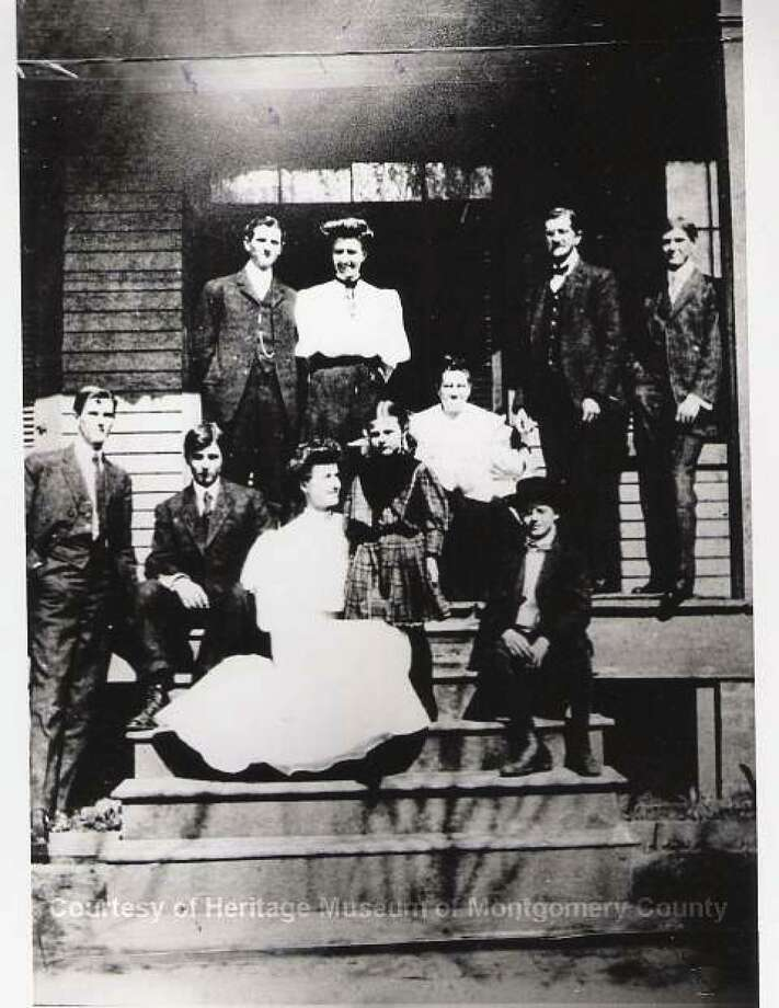 Henry Bascom Everett and wife, Iola, and their family. The H.B. Everett opened a cash grocery story in 1908. The store continued in downtown Conroe through 1997.