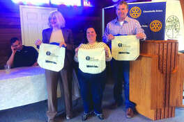 "In this April 2018 file photo, from left, Rachael Tompkins, Stephanie Malench and Mayor Hal Patton show off reusable bags purchased by the city. Shopping bags like these are purportedly what the League of Women Voters seeks for people to use. On Jan. 10 at 7 p.m., the league will host an event, ""Let's Talk Bags!"" at the Glen Carbon Senior/Community Center."