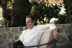 Chef Thomas Keller has a discussion with Michael Minnillo prior to service at The French Laundry on Wednesday, April 16, 2014 in Yountville, Calif.