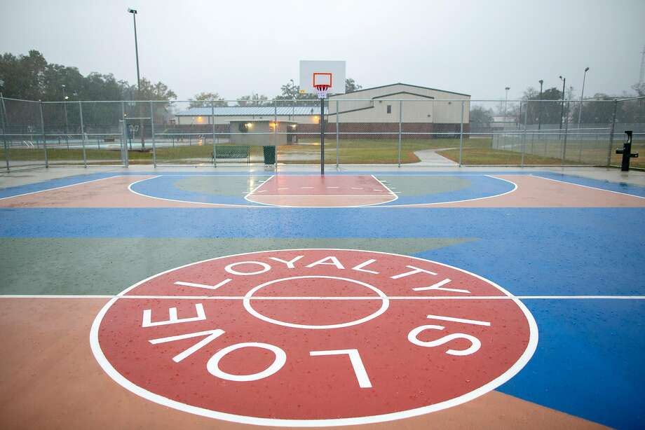 "The new basketball court in Mobile, Ala., in mostly courtesy of the Warriors' DeMarcus Cousins. The court features the slogan, ""Loyalty Is Love,"" words Cousins lives by. Photo: Jeff Haller / Special To The Chronicle"