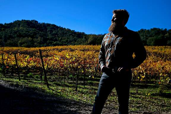 Winemaker Ian Brand at Durney Vineyard in Carmel Valley, Calif. where he pulls fruit to make cabernet.