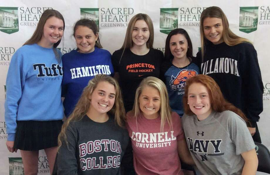 Sacred Heart Greenwich held a ceremony recognizing its athletes that have committed to play sports at the collegiate level. Front row, seated left to right: Ryan Smith (Boston College lacrosse), Hilary Hoover (Cornell lacrosse), Athena Corroon (Naval Academy lacrosse). Back row, standing left to right: Katelin Ulmer (Tufts swimming), Olivia Batal (Hamilton College field hockey), Eliana Manriquez (Princeton field hockey), Julianna Collins (Bucknell crew) and Catherine Hamilton (Villanova swimming). Photo: Contributed Photo / Contributed Photo / Greenwich Time Contributed Photo