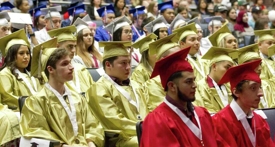 Seniors from high school around Conroe ISD listen during the district's mid-year graduation at College Park High School, Monday, Dec. 17, 2018, in The Woodlands. Photo: Jason Fochtman, Houston Chronicle / Staff Photographer / © 2018 Houston Chronicle