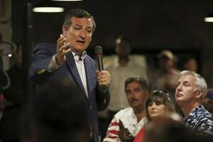 Republican U.S. Sen. Ted Cruz speaks on a variety of topics, including the death of U.S. Sen. John McCain, religion in schools, the Affordable Care Act, tax reform, school shootings, standardized testing and more, Saturday, Aug. 25, 2018, at the Barn Door Steakhouse in Odessa, Texas. (Jacob Ford/Odessa American via AP)