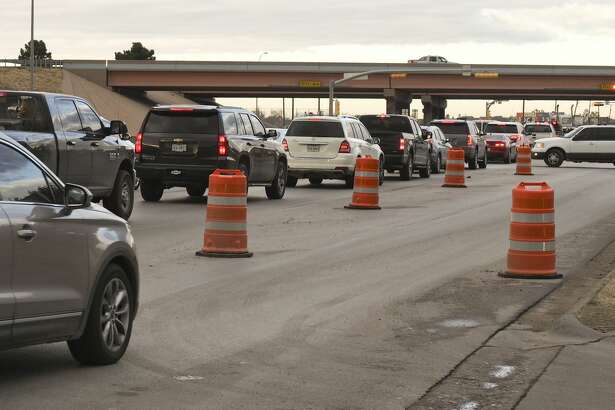 Traffic backs up at the light at Big Spring and Loop 250 heading north 12/17/18 as construction north of the loop has closed one lane of the roadway. Tim Fischer/Reporter-Telegram