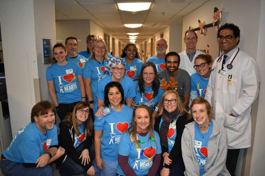 Those who volunteered at Saturday's teen heart screening are Crystal Trevino, back row from left, Ron Kalt, Briana Haggard, Kathy Everett, Andrea Webster, Clay Wooten, Dr. Michael Miller; Laura Rivas, middle row from left, Liz Martin, Dr. Sulay Patel, Jenny Delk-Fikes, Dr. Leela Lella; and Shawn Stark, front row from left Holly Baker, Stephanie Crawford, Stacey Medrano, Morgan Tennis and Kelsey Bohanon Photo: Courtesy Photo