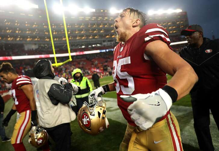 San Francisco 49ers' George Kittle celebrates after Niners' 26-23 win over Seattle Seahawks in overtime in NFL game at Levi's Stadium in Santa Clara, Calif. on Sunday, December 16, 2018.