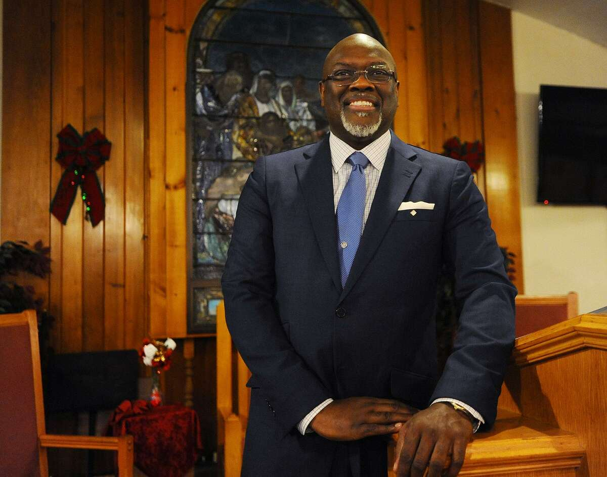 Reverend and State Rep. Charles Stallworth stands at the pulpit of his church, East End Tabernacle Baptist, in Bridgeport, Conn. on Tuesday, December 18, 2018. Stallworth is contemplating running for Bridgeport mayor. Current Mayor Joe Ganim issued his public apology from the East End Baptist pulpit before his successful reelection in 2015.
