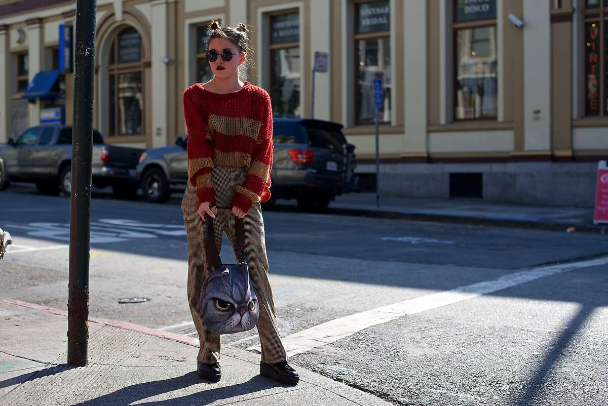 Visual merchandiser Stephanie Hanna (@stephania_years) is photographed in the Haight-Ashbury district wearing vintage and thrifted clothes over the summer.