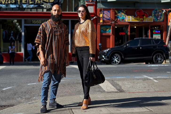Francesco, whose Instagram handle is @francescofragomeni, works at Venmo and is an artist.   He is photographed in the Haight-Ashbury district wearing vintage clothes and Allbirds shoes. Laura (@laurwelsh) is wearing Armani exchange jeans, Toms shoes and a Marc by Marc Jacobs bag.