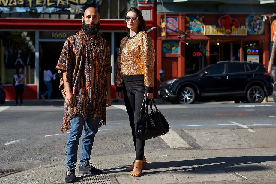 Francesco, whose Instagram handle is @francescofragomeni, works at Venmo and is an artist. He is photographed in the Haight-Ashbury district wearing vintage clothes and Allbirds shoes. Laura (@laurwelsh) is wearing Armani exchange jeans, Toms shoes and a Marc by Marc Jacobs bag. Photo: Adam Mastroianni / Special To The Chronicle