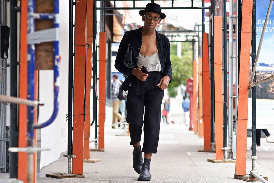 Terry Tucker, whose Instagram handle is @theterrytucker, works in the tech industry, and formerly the magazine industry. He was photographed on Fillmore Street over the summer wearing a Jason Scott shirt, Pinkyotto trousers, Goorin Bros. hat and Barneys boots. Photo: Adam Mastroianni / Special To The Chronicle