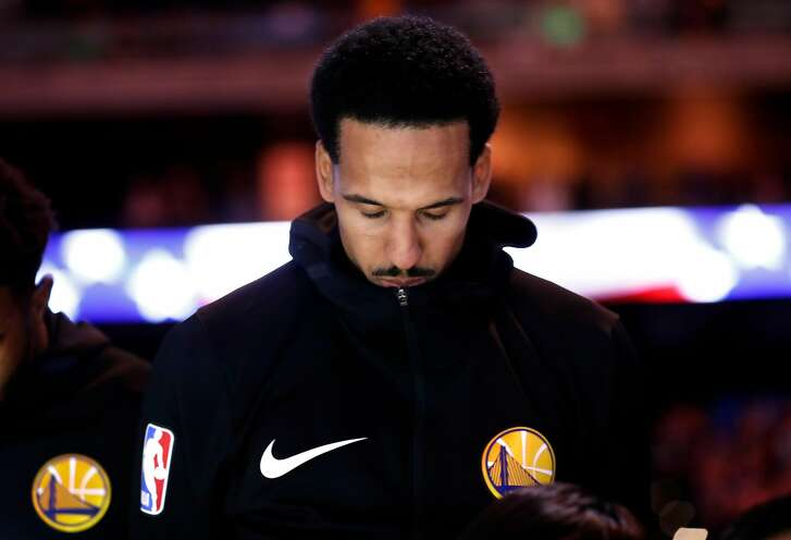 Golden State Warriors' Shaun Livingston during National Anthem before 110-93 win over Memphis Grizzlies in NBA game at Oracle Arena in Oakland, Calif. on Monday, December 17, 2018.