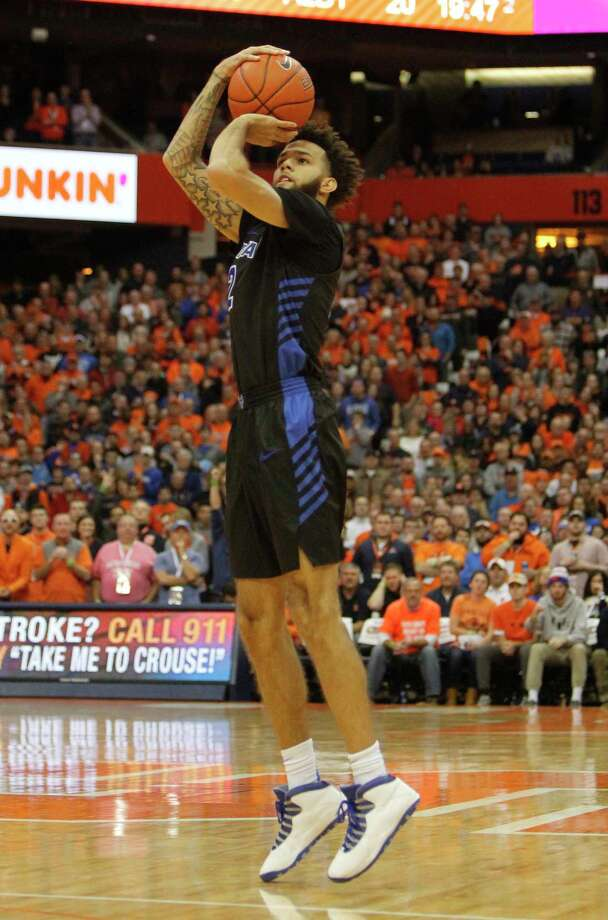 Buffalo's Jeremy Harris shoots in the first half of an NCAA college basketball game against Syracuse in Syracuse, N.Y., Tuesday, Dec. 18, 2018. (AP Photo/Nick Lisi) Photo: Nick Lisi / Copyright 2018 The Associated Press All rights reserved