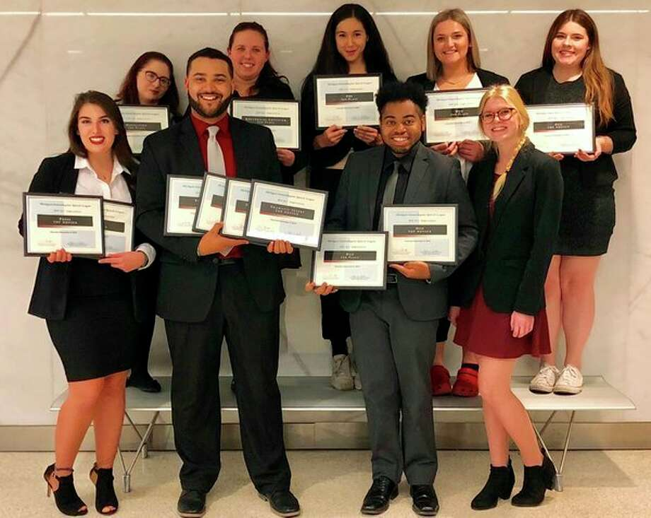 Saginaw Valley State University forensics students competed at the Michigan Intercollegiate Speech League State Tournament at Eastern Michigan University Saturday, Dec. 8. Front row, from left: Courtney Perrou, Darious Henry, Josh Lloyd and Ashley Murdock. Back row, from left: Tiler Jewell, Samantha White, Gina Kearly, Aubree Harrell and Kennedy Bachman. (Photo provided)