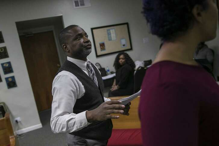 """Bobby McMorris directs a run-through of his new play, """"The Unexpected Guest."""" The play is set during the holidays."""