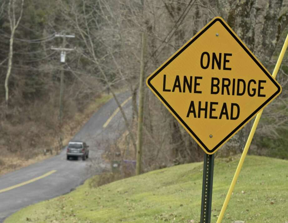 One lane bridge on Cherniske Road on Friday. New Milford has proposed to make it two lanes. Photo: H John Voorhees III / Hearst Connecticut Media / The News-Times