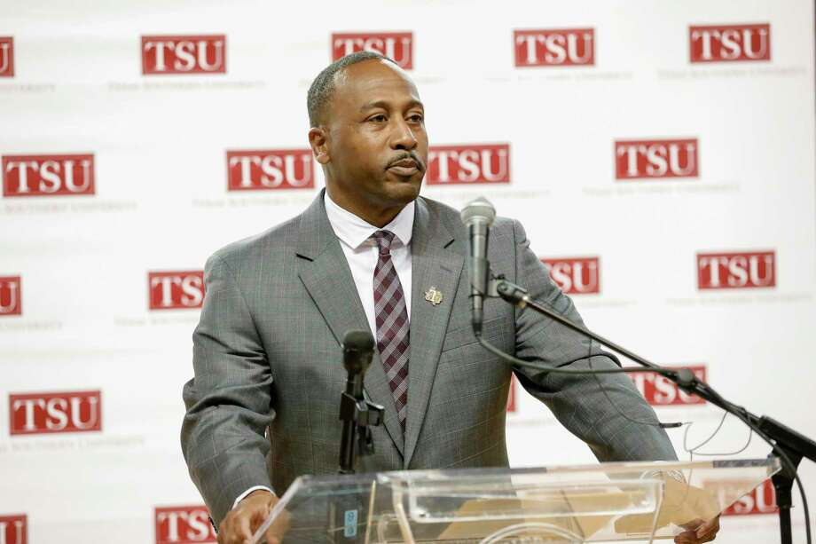 TSU head football coach Clarence McKinney addresses the crowd during the press conference to announce Clarence McKinney as the new head football coach at Texas Southern University in Houston, TX on Monday, December 3, 2018. Photo: Contributor / ©Houston Chronicle