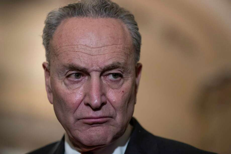 Senate Minority Leader Chuck Schumer, D-N.Y., speaks to reporters about the possibility of a partial government shutdown, at the Capitol in Washington, Tuesday, Dec. 18, 2018. Congress and President Donald Trump continue to bicker over his demand that lawmakers fund a wall along the U.S.-Mexico border, pushing the government to the brink of a partial shutdown at midnight Friday. Photo: J. Scott Applewhite, AP / Copyright 2018 The Associated Press. All rights reserved