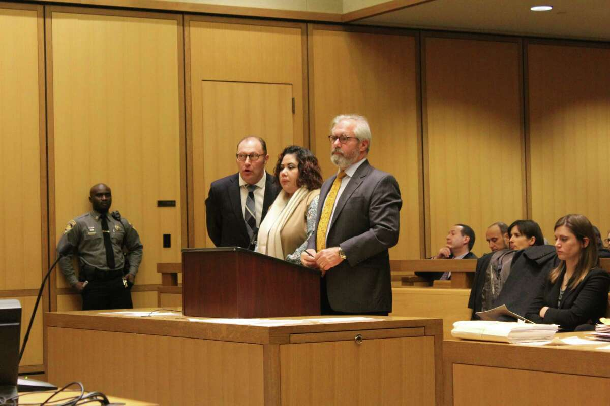 Nydia Carrillo-Maldonado, center, plead guilty to charges of first-degree manslaughter and risk of injury to a minor in state Superior Court Stamford on Wednesday.