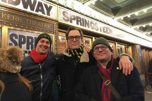 "Standing in line on Dec. 1, 2018, at the sold out ""Springsteen on Broadway"" show are, from left, Per Stromback, 45, Carl Jurell, 48, and Daniel Torbjornsson, 46, all of Stockholm. Without concert seats in hand, they took a direct flight from Stockholm to New York City in effort to see the show. Two nights prior, they didn't get seats. On this night, their efforts were rewarded."